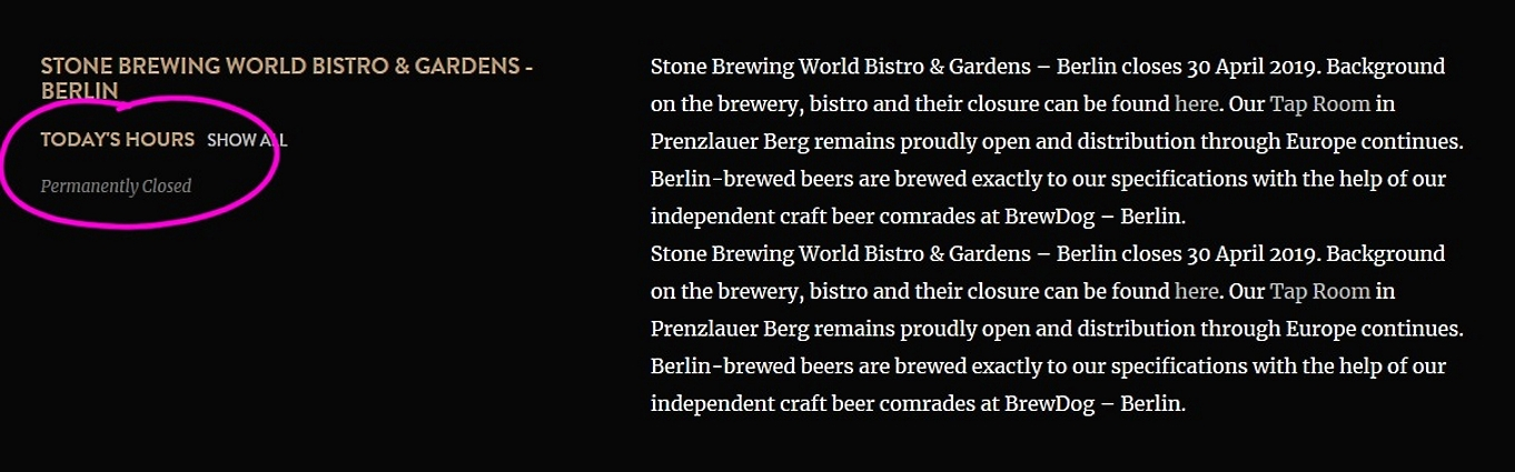 Stone Brewing World Bistro & Gardens, Berlin, Bier in Berlin, Bier vor Ort, Bierreisen, Craft Beer, Brauerei, Bierbar, Bottle Shop, Biergarten, Bierrestaurant, Taproom