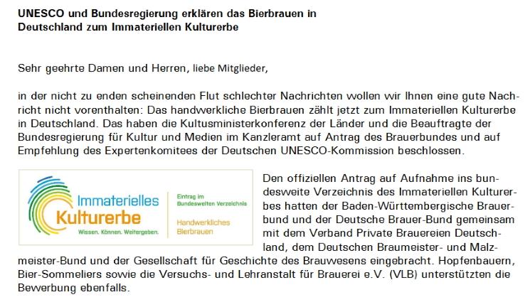 Von der UNESCO anerkannt: Bierbrauen in Deutschland wird immaterielles Kulturerbe, Bier in Deutschland