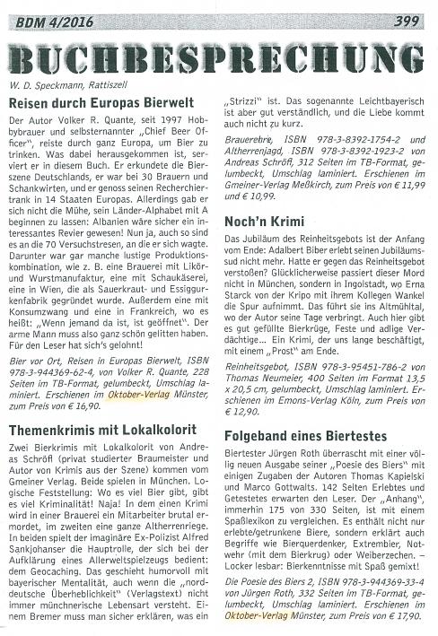 Buchbesprechung, Speckmann, BDM, Reisen durch Europas Bierwelt